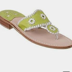 Jack Rogers Navajo Lime Green & White Sandals 6M